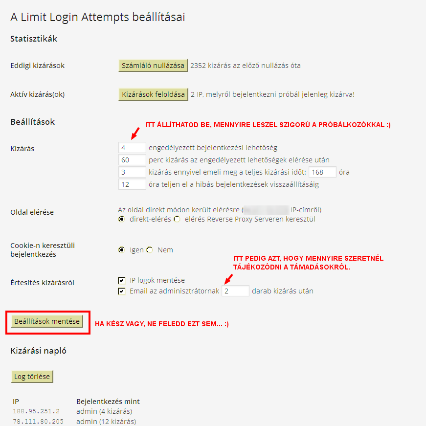limit login beallitas