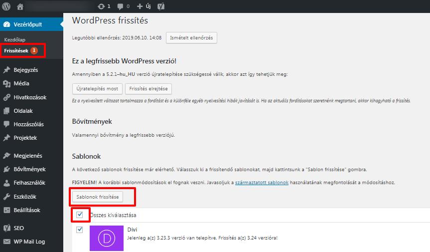 wordpress frissítés lépései, képernyőfotó az admin felületről