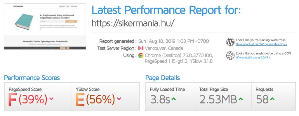 Honlap sebesség adatok bővítmény nélkül