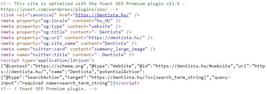 weboldal forráskódja