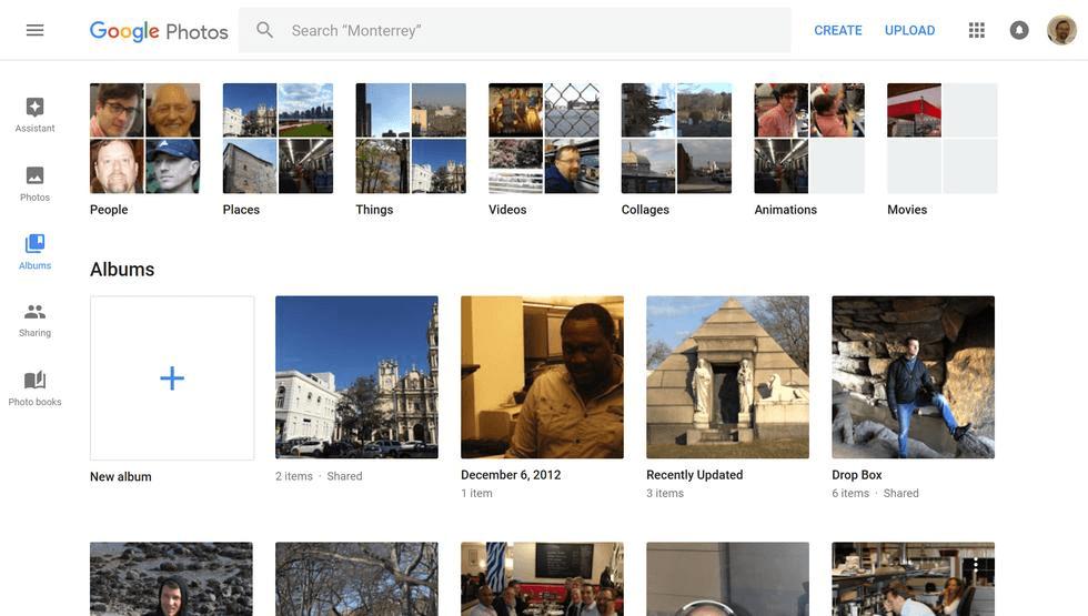 Google Photos felület