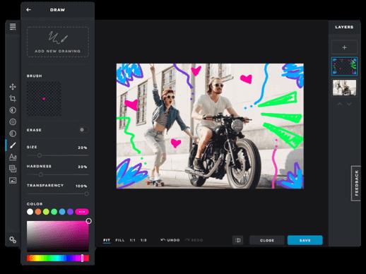 pixlr képszerkesztő szerkesztői felülete androidon