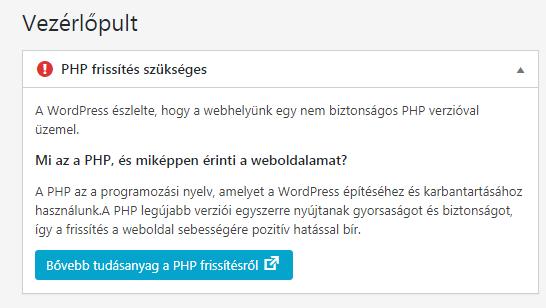 PHP frissítés szükséges – üzenet a WP adminban
