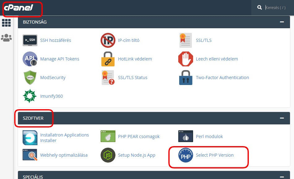 PHP SELECTOR gomb cPanel