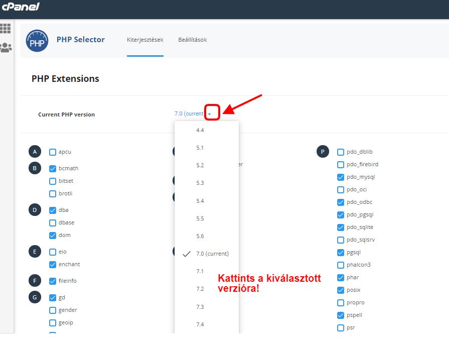 verzió kiválasztása php selectorban