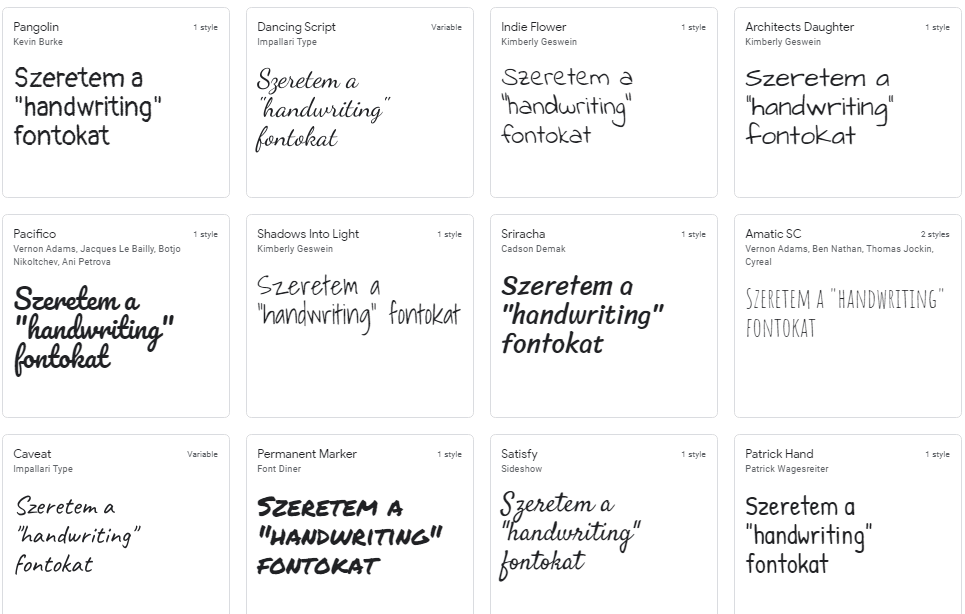 kézírásos Google betű minták